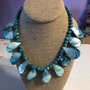 Teal Teardrop Shell Necklace